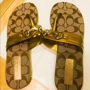Authentic Coach Metallic Gold Monogram Sandals 9